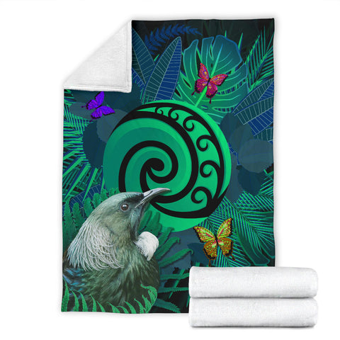 New Zealand Premium Blanket Koru Fern Mix Tui Bird - Tropical Floral Turquoise K4