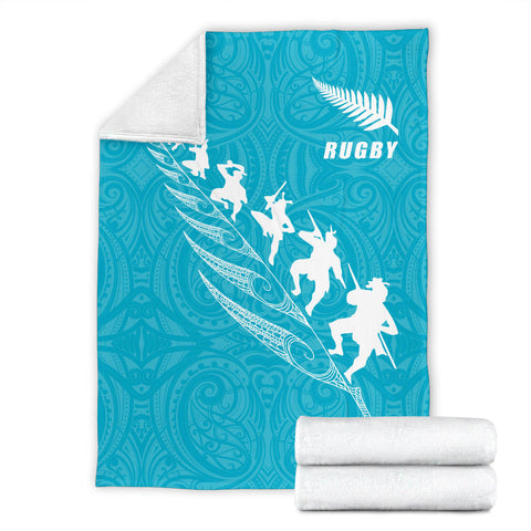 Rugby Haka Fern Premium Blanket Blue K4 - 1st New Zealand