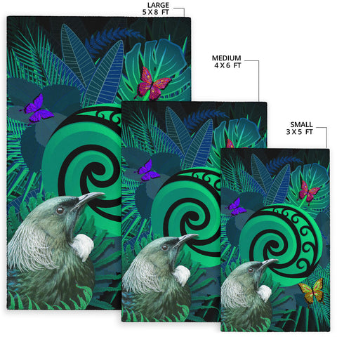 New Zealand Area Rug Koru Fern Mix Tui Bird - Tropical Floral Turquoise K4