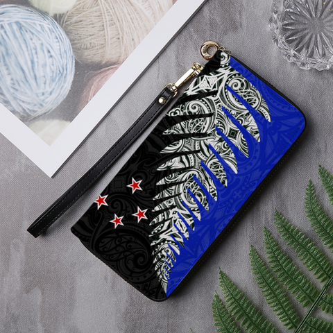 Image of New Zealand Silver Fern Leather Wallet K4 - 1st New Zealand