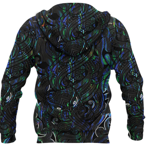 New Zealand Hoodie, Maori Gods Pullover Hoodie, Tumatauenga (God of War) - Paua Shell K4 - 1st New Zealand