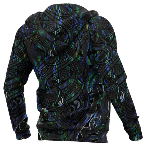 Image of New Zealand Hoodie, Maori Gods Pullover Hoodie, Tumatauenga (God of War) - Paua Shell K4 - 1st New Zealand