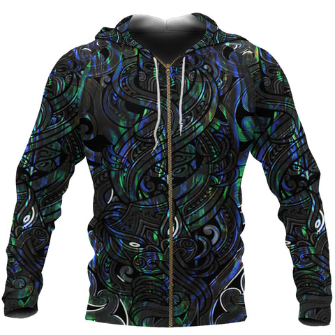 Image of New Zealand Zip Up Hoodie, Maori Gods Zipper Hoodie, Tumatauenga (God of War) - Paua Shell K4 - 1st New Zealand