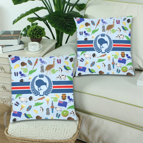 New Zealand Symbols Pillow Cover - new zealand pillow covers, pillow covers, zippered pillow, home decor, kiwi, online shopping