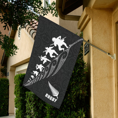 Rugby Haka Fern Flag Black K4 - 1st New Zealand