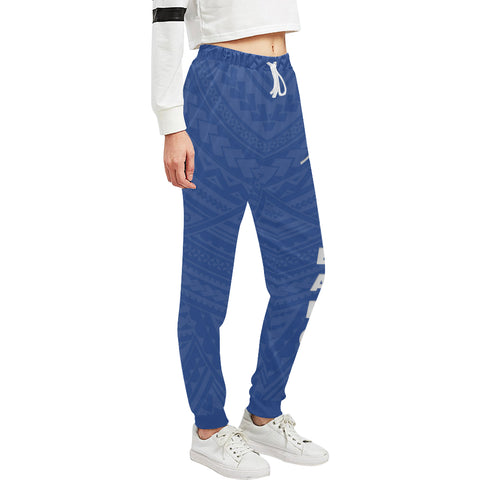 New Zealand Maori Sweatpants with Blue color - Front - For Women 02