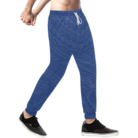 New Zealand Maori Sweatpants with Blue color - Front - For Men 02