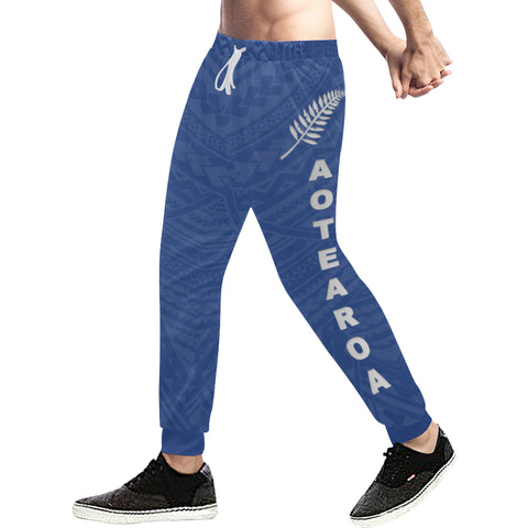 New Zealand Maori Sweatpants with Blue color - Front - For Men 01