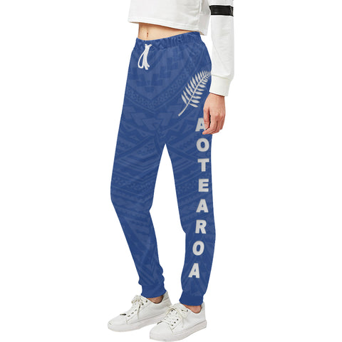 New Zealand Maori Sweatpants with Blue color - Front - For Women 01