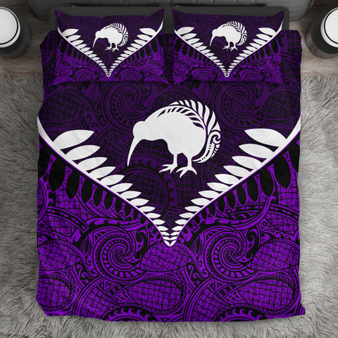 New Zealand Kiwi Fern Bedding Set Purple K4