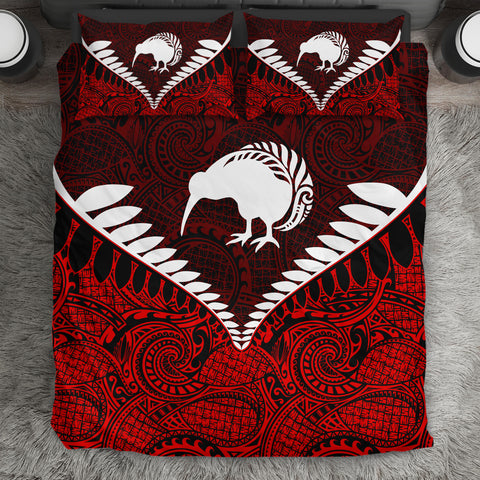 New Zealand Kiwi Fern Bedding Set Red K4