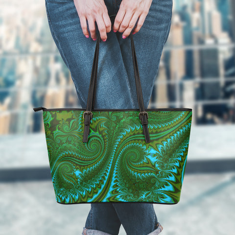 New Zealand Koru Small Leather Tote Bag - Abstract Style 02 K4