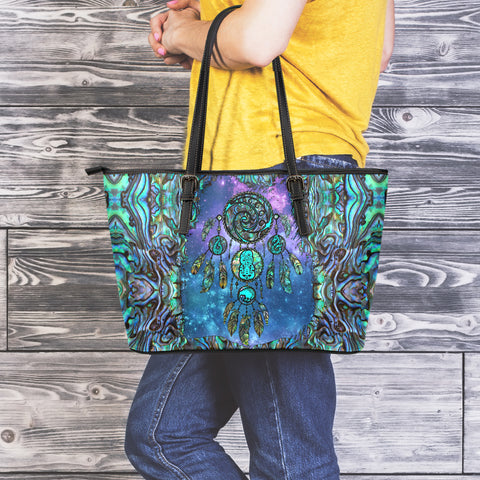 New Zealand Dreamcatcher Large Leather Tote Paua Shell K4