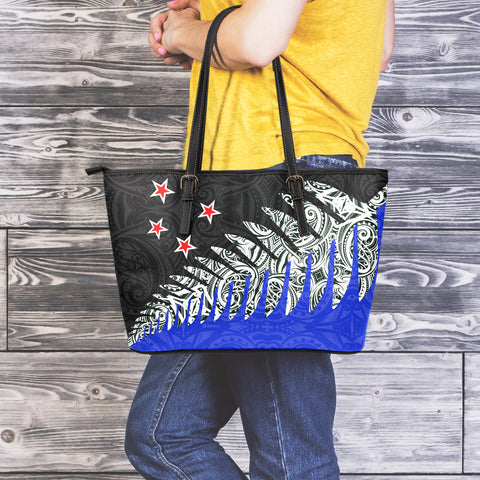 New Zealand Silver Fern Large Leather Tote Bag Blue K4 - 1st New Zealand