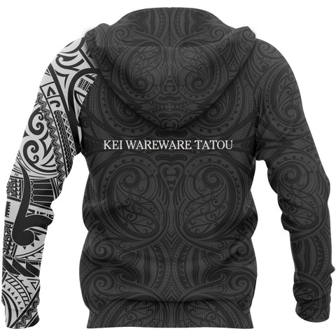 Lest We Forget Maori Tattoo New Zealand Pullover Hoodie with Black mix White color - Back - For Men and Women