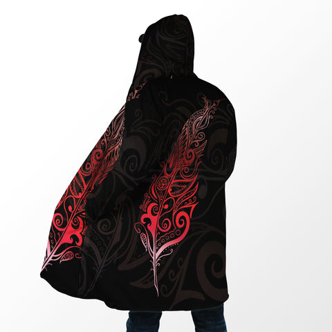 Image of Light Silver Fern Hooded Cloak - Red K5 - 1st New Zealand