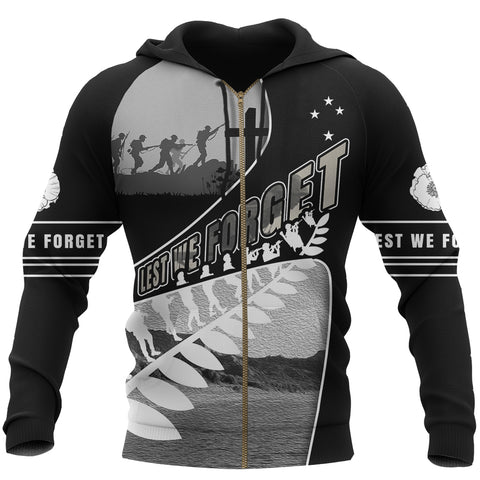 Anzac Day New Zealand Zip Hoodie, Never Forget Full Zip Hoodie K5 - 1st New Zealand