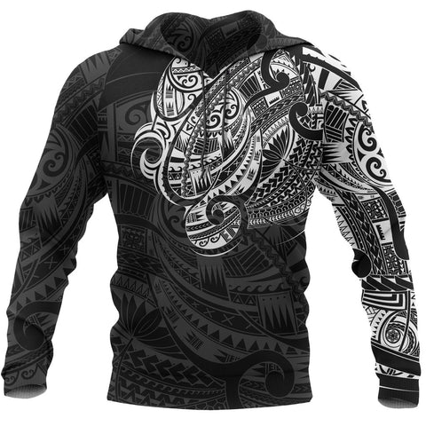 Maori Tattoo Style All Over Hoodie White Version - 1st New Zealand