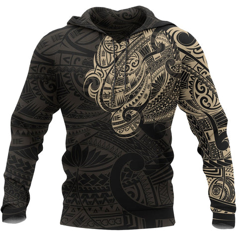 Image of Maori Tattoo Style All Over Hoodie Golden Version - 1st New Zealand