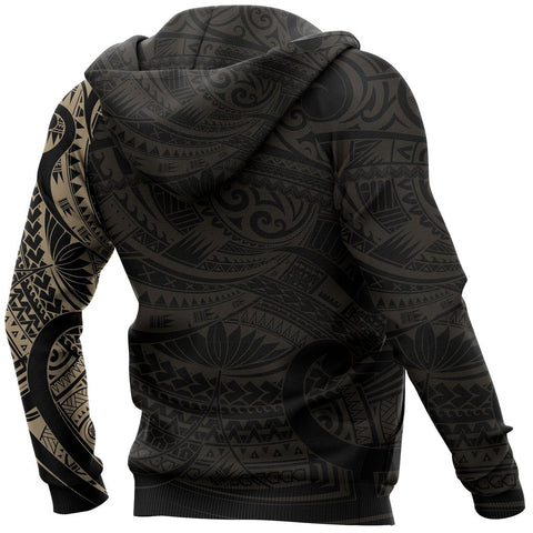 Maori Tattoo Style All Over Hoodie Golden - Custom Version A74 - 1st New Zealand