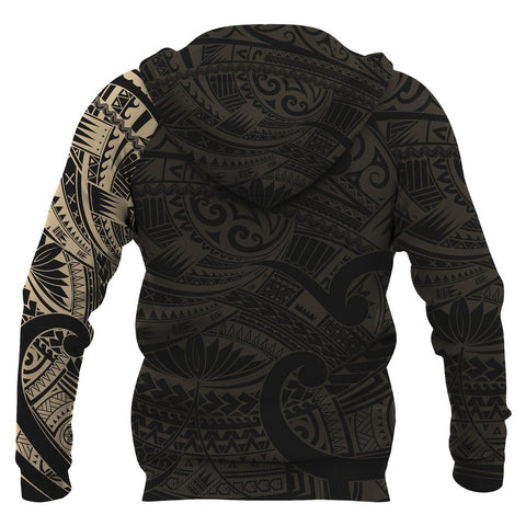 Maori Tattoo Style All Over Hoodie Golden Version - 1st New Zealand