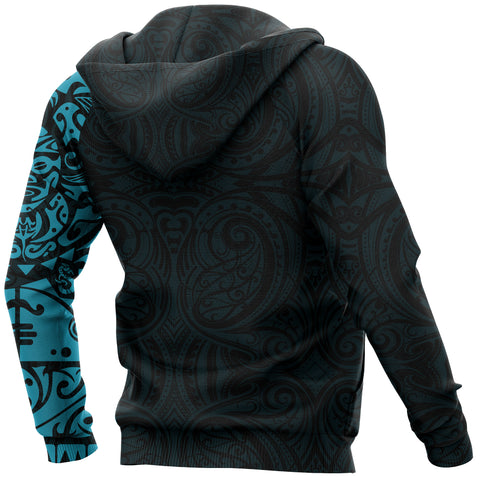 Image of Maori Tangaroa Tattoo New Zealand All Over Hoodie - Blue A75 - 1st New Zealand