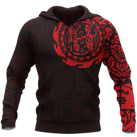 Image of Maori Tangaroa Tattoo New Zealand All Over Hoodie - Red A75 - 1st New Zealand