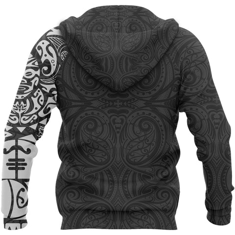 Maori Tangaroa Tattoo New Zealand All Over Hoodie - White A75 - 1st New Zealand
