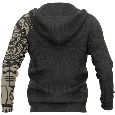 Maori Tangaroa Tattoo New Zealand All Over Hoodie - Tan A75 - 1st New Zealand