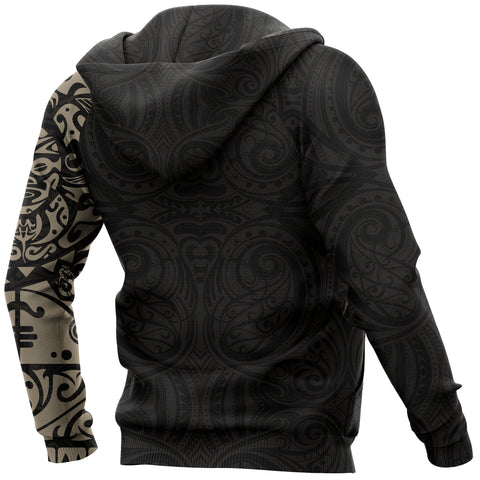 Maori Tangaroa Tattoo New Zealand All Over Hoodie - Black Mix Golden color - Back - For Men and Women