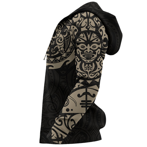Maori Tangaroa Tattoo New Zealand All Over Hoodie - Black Mix Golden color - Sleeves - For Men and Women