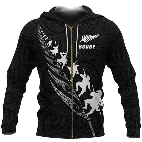 Rugby Haka Fern Zip Up Hoodie Black - Custom Text and Number Version K4 - 1st New Zealand