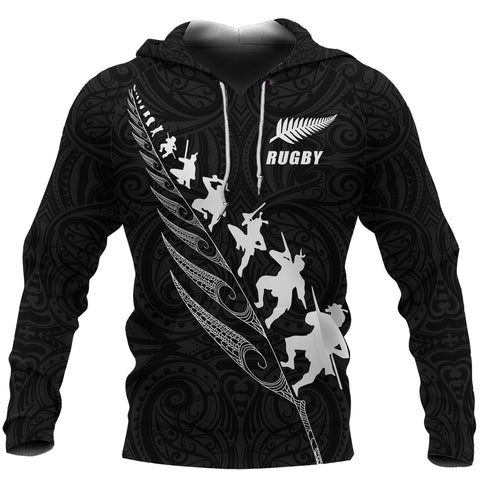 Rugby Haka Fern Hoodie Black - Custom Text and Number Version K4 - 1st New Zealand
