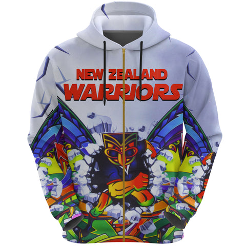 New Zealand Warriors Zip Hoodie Painting K4