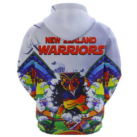 New Zealand Warriors Zip Hoodie Painting K4 - 1st New Zealand
