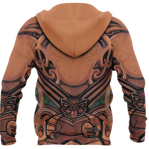 New Zealand Warriors Hoodie Carving Wooden back