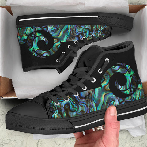 Paua Shell Koru New Zealand High Top Shoes K5 - 1st New Zealand