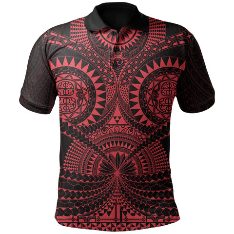 Polynesian Tattoo Polo Shirt Red TH5 - 1st New Zealand