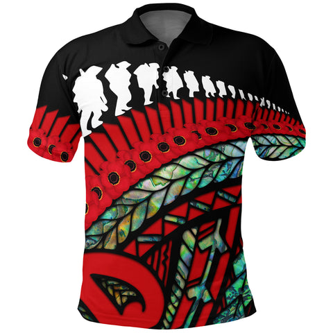 Anzac Soldiers New Zealand Polo Shirt, Poppies Lest We Forget Maori Golf Shirt Paua front