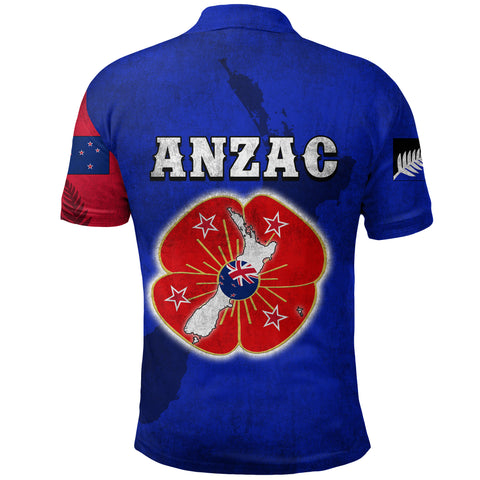 Anzac New Zealand Polo Shirt Lest We Forget Blue - Road to Peace K4 - 1st New Zealand