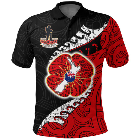 Anzac Shirt, New Zealand Lest We Forget Poppy Polo Shirt K4 - 1st New Zealand