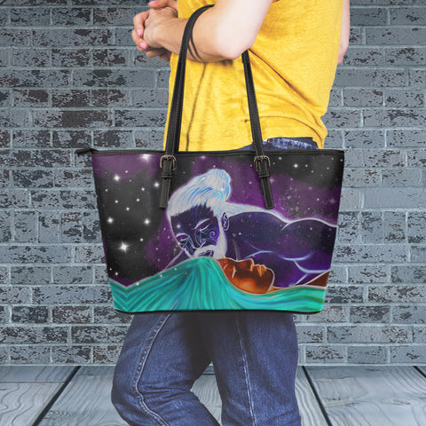 Rangi And Papa Large Leather Tote Bag - Dark Purple Color 2