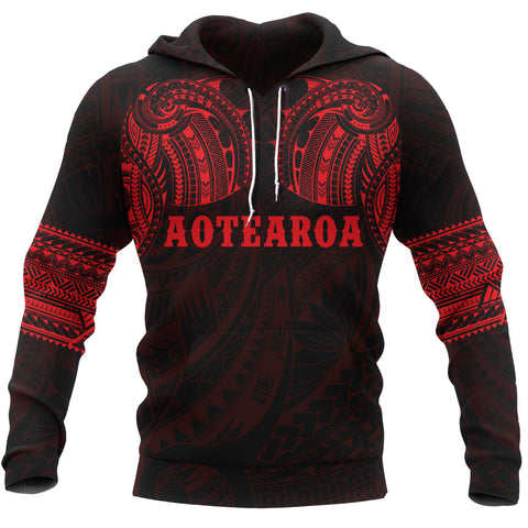 Image of Aotearoa Maori Tattoo All Over Hoodie Red K4 - 1st New Zealand