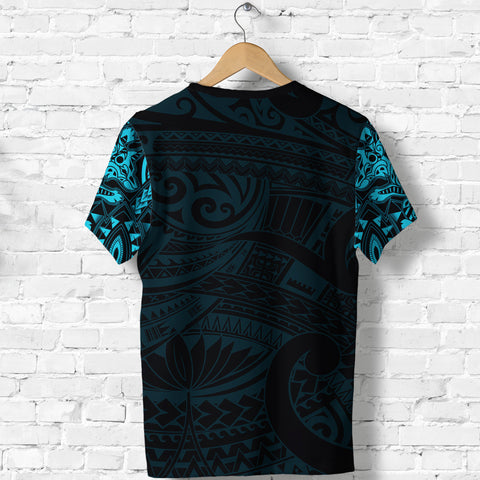 Image of New Zealand Shirt, Maori Tattoo Wolf Dragon T Shirt - Blue K4 - 1st New Zealand
