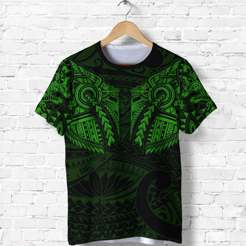 New Zealand Shirt, Maori Tattoo Wolf Dragon T Shirt - Green K4 - 1st New Zealand