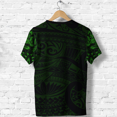 Image of New Zealand Shirt, Maori Tattoo Wolf Dragon T Shirt - Green K4 - 1st New Zealand