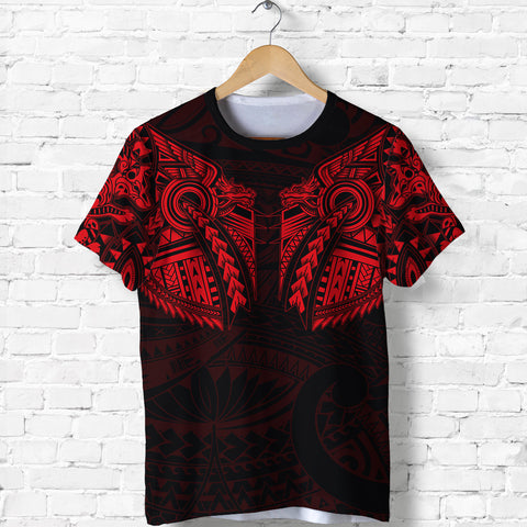Image of New Zealand Shirt, Maori Tattoo Wolf Dragon T Shirt - Red K4 - 1st New Zealand