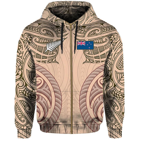 Haka Moko Rugby Aotearoa Zip Hoodie Th00 - 1st New Zealand