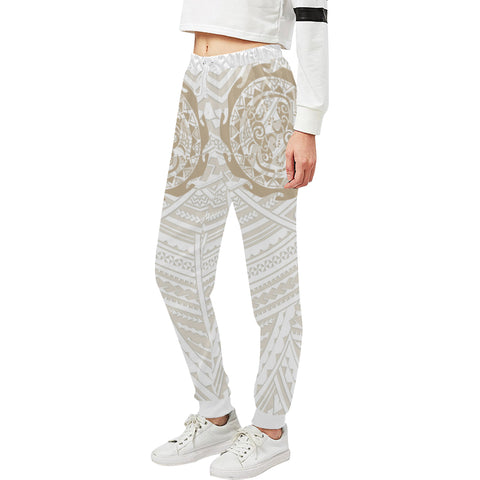 Maori Tangaroa Tattoo New Zealand Sweatpants with Golden mix White color - Front - For Women 02