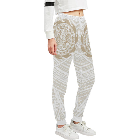 Maori Tangaroa Tattoo New Zealand Sweatpants with Golden mix White color - Front - For Women 01